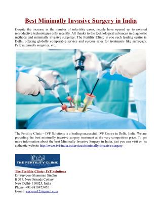 Best Minimally Invasive Surgery in India