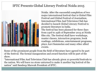 IFTC Presents Global Literary Festival Noida 2015