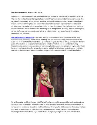 Buy designer wedding lehenga choli online