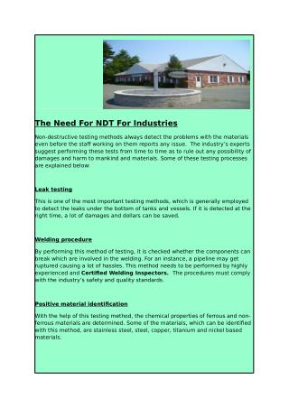 The Need For NDT For Industries