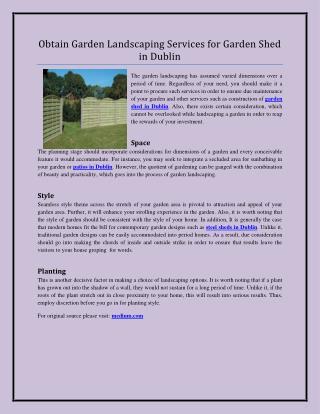 Obtain Garden Landscaping Services for Garden Shed in Dublin