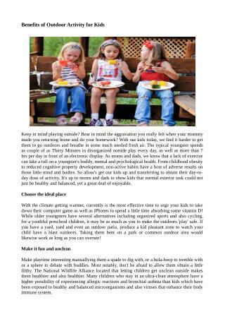 Benefits of Outdoor Activity for Kids