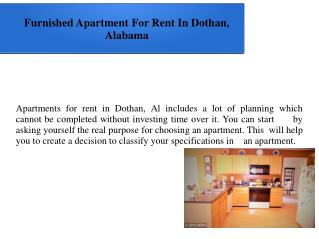 Furnished Apartment For Rent In Dothan, Alabama