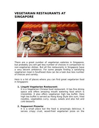 VEGETARIAN RESTAURANTS AT SINGAPORE