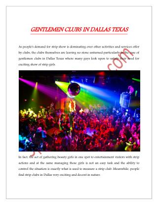 GENTLEMEN CLUBS IN DALLAS TEXAS
