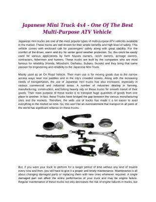 Japanese Mini Truck 4x4 - One Of The Best Multi-Purpose ATV Vehicle