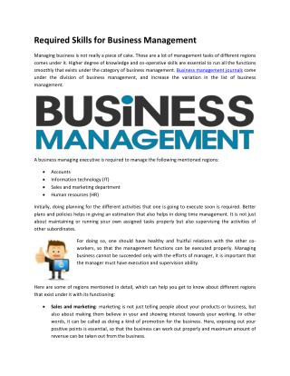 Required Skills for Business Management