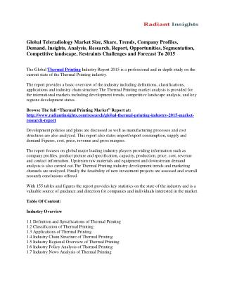 Global Thermal Printing Market Opportunities, Segmentation and Forecast to 2015