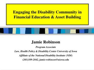Engaging the Disability Community in Financial Education  Asset Building