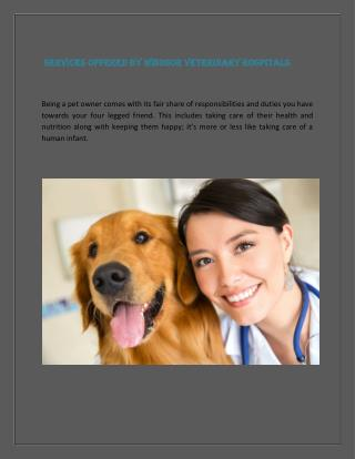 Services offered by Windsor veterinary hospitals