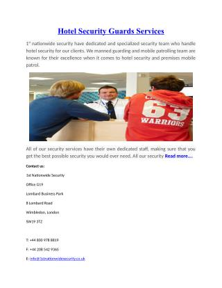 Hotel Security Guards Services