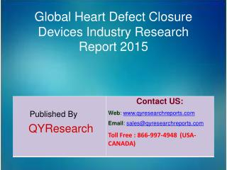 Global Heart Defect Closure Devices Market 2015 Industry Analysis, Research, Share, Trends and Growth