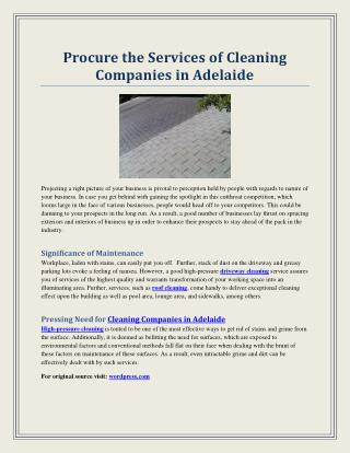 Procure the Services of Cleaning Companies in Adelaide