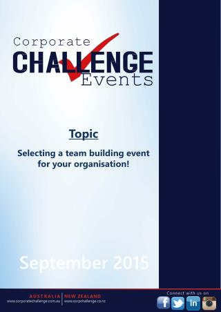 Selecting a team building event for your organisation! Corporate Challenge Events