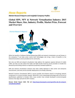 Sdn, nfv & network virtualization market share, key trends and Forecast 2014 - 2020