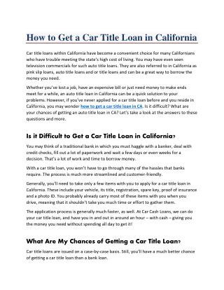How to Get an Instant Car Title Loan Approved in California ?
