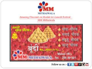 Amazing Discount on Modak for Ganesh Festival - MM Mithaiwala