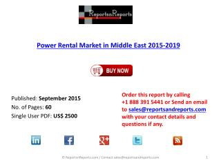 Power Rental Market in the Middle East 2015 – 2019 by End-User