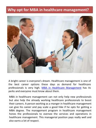 Why opt for MBA in healthcare management?