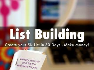 Email List building - Create your 5k list in 30 days - Make Money