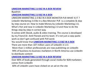 LINKEDIN MARKETING 2.0 BIZ IN A BOX