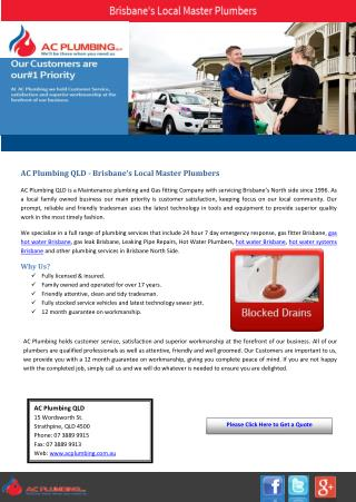 AC Plumbing QLD - Brisbane's Local Master Plumbers