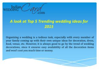 Top 5 wedding Trends ideas for 2015