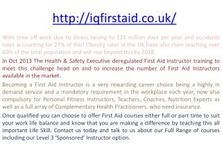 First Aid At Work | IQ First Aid Courses | Health And Safety