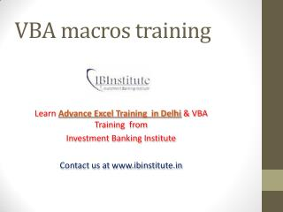 Online Advance Excel & VBA Training in India