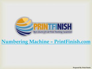 Numbering Machine � PrintFinish.com