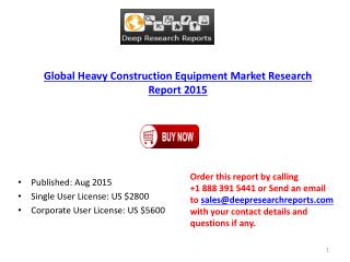 Heavy Construction Equipment Industry Statistics and Opportunities Report 2015