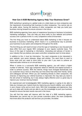 How Can A B2B Marketing Agency Help Your Business Grow?