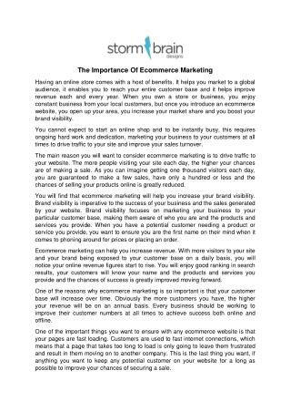 The Importance Of Ecommerce Marketing