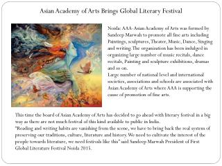 Asian Academy of Arts Brings Global Literary Festival