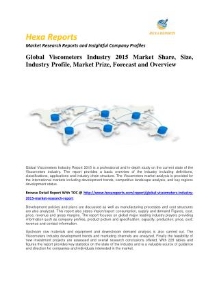 Viscometers Industry 2015 Market Size, Share, trends and Forecast  2014 – 2020
