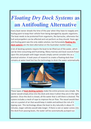 Floating Dry Dock Systems as an Antifouling Alternative