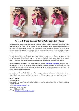 Approach Trade Kidswear to Buy Wholesale Baby Items