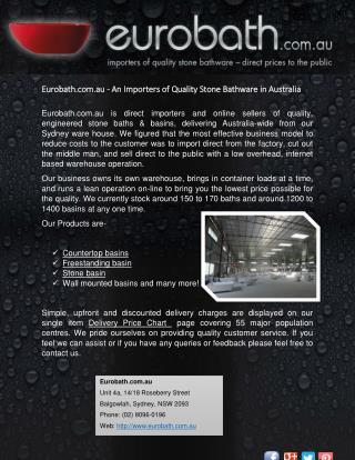 Eurobath.com.au - An Importers of Quality Stone Bathware in Australia