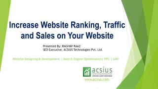 How to Increase Website Ranking, Traffic and Sales on Your Website