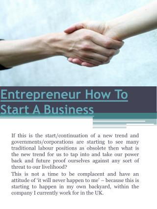 Entrepreneur How To Start A Business