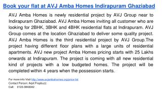 Book your flat at AVJ Amba Homes Indirapuram Ghaziabad