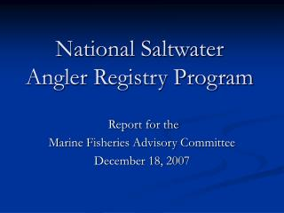 National Saltwater Angler Registry Program