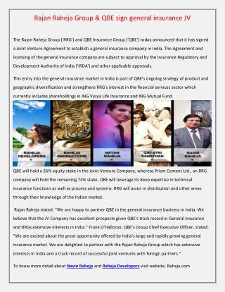 Rajan Raheja Group & QBE sign general insurance JV