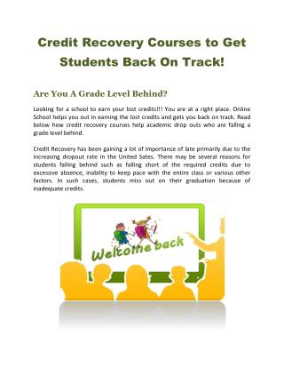 Credit Recovery Courses to Get Students Back On Track