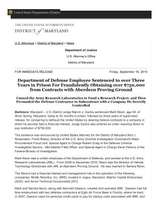 Blog 104 Department of Defense Employee Sentenced to over Three Years in   Prison For Fraudulently Obtaining over $750,0