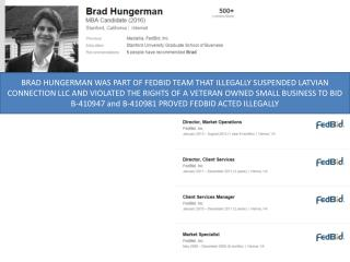 Blog 105 BRAD HUNGERMAN - FEDBID CLIENT SERVICES   ILLEGALLY SUSPENDS   VETERAN OWNED SMALL BUSINESS