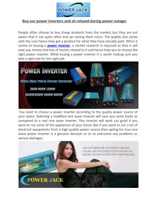 Buy our power inverters and sit relaxed during power outage