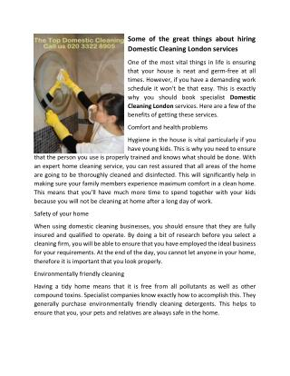 Some of the great things about hiring Domestic Cleaning London services