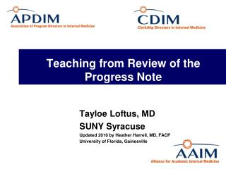 Teaching from Review of the Progress Note
