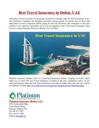 Best Travel Insurance in Dubai, UAE